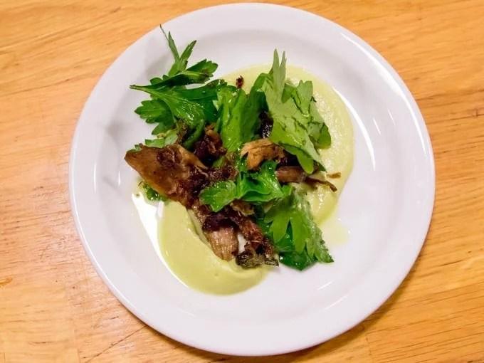 Crispy rabbit and capers on romenesco puree