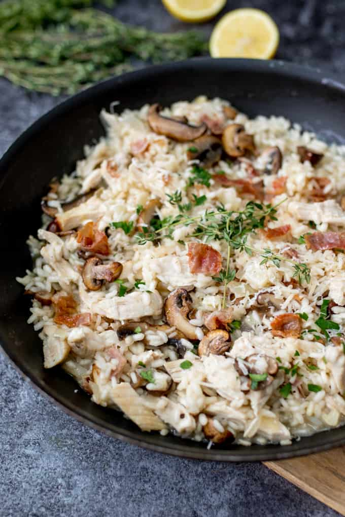 Rich and creamy turkey mushroom and Pancetta Risotto - A great way to use up that mountain of leftover Turkey! It's also gluten free!