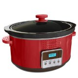 BELLA 13963 Dots Collection Programmable Slow Cooker, 5-Quart, Red