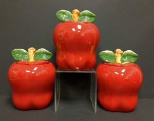 Tuscany Red Apple Ceramic, 3-Piece Canister Set