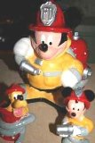 Fireman Mickey Cookie Jar with Mickey and Pluto Salt and Pepper Set