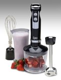 Epica 4-in-1 Heavy Duty Hand Blender includes Puree Attachment, Whisk Attachment, Chopping Bowl, Blending/Storage Jar with Lid, and Serving Bowl