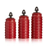 American Atelier Rani 3 Piece Canister Set, Red