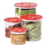 Oggi Stack 'N Store 4 Piece Canister Set, Red
