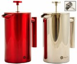 Best French Press Stainless Steel Coffee and Tea Maker. Double Wall Insulation to Retain Heat With Stay Cool Handle. Bargain 8 cup Cafetiere Roast Coffee and Tea Pot. Available in 2 colors. (Red)