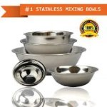 FineDine mb-3854 Curved Lip and Flat Base Stainless Steel Mixing / Prep Bowl Kitchen Set, Mirror Finish, 6 Pieces