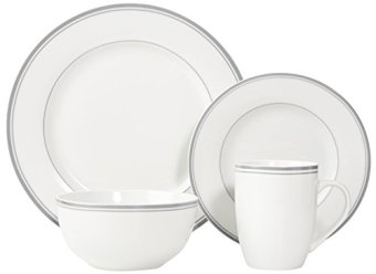 AmazonBasics 16-Piece Cafe Stripe Dinnerware Set  sc 1 st  Kitchen Things : cafe dinnerware - pezcame.com