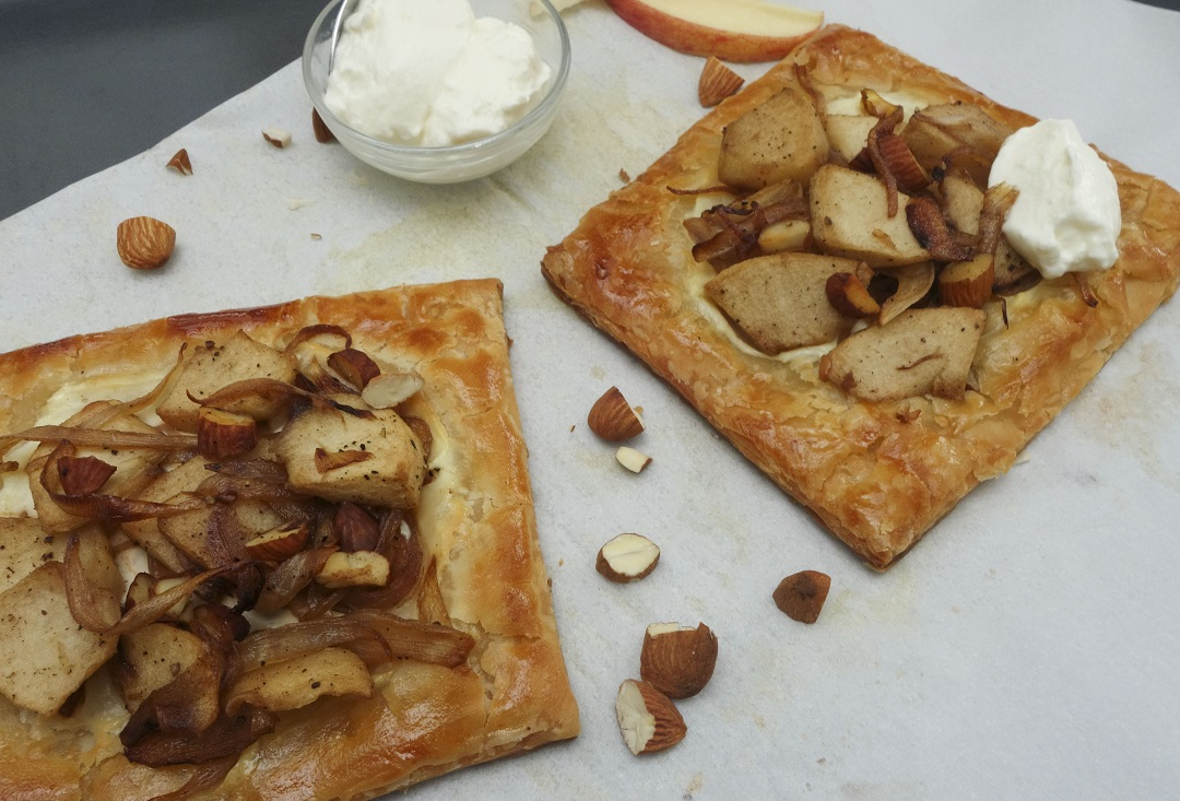 Caramelized onion apple tart