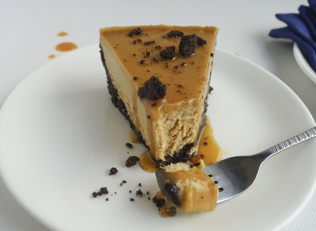 This easy Chocolate Oreo crust with a simple caramel syrup and a creamy indulgent coffee cheesecake is a delicious dessert perfect for families and friends get together.