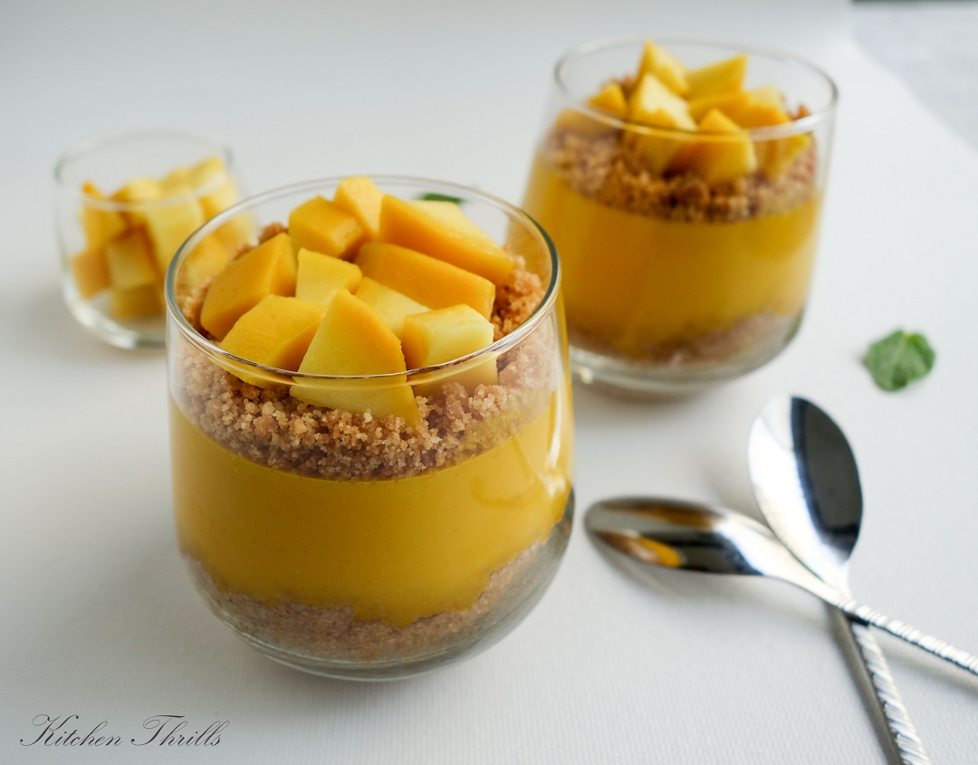 This delicious luscious mango pudding is made with gelatin and requires no baking and no cooking. A perfect make ahead dessert.