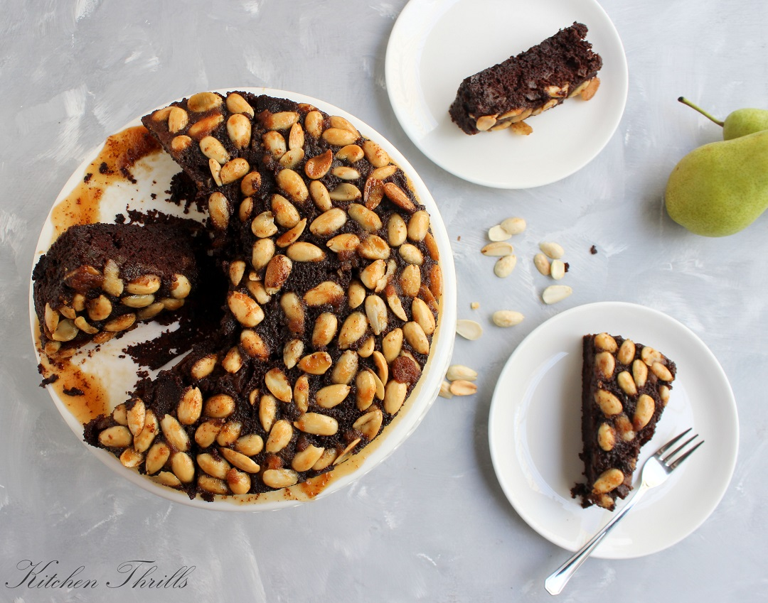 A delicious light and airy pear chocolate cake complimented by the crunchiness of the almonds