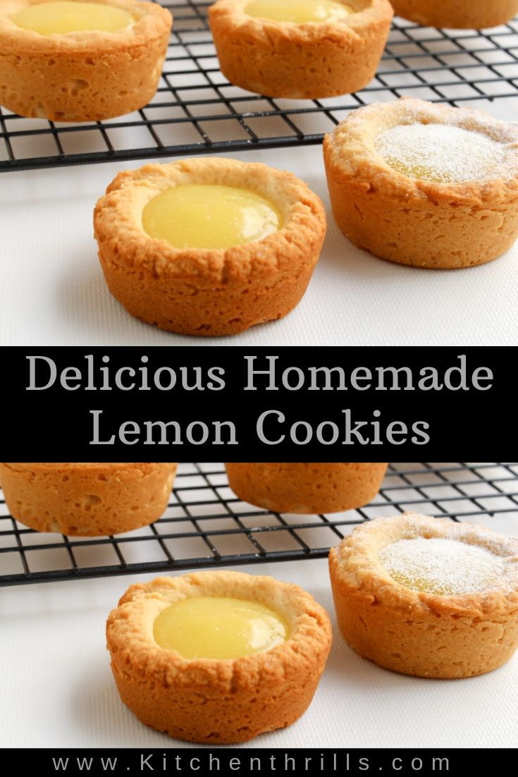 Homemade sugar cookies cups filled with tart and sweet lemon curd makes the perfect kid friendly dessert for summer parties. This dessert recipe is a fun and easy way to learn baking. #lemoncurd #lemondesserts