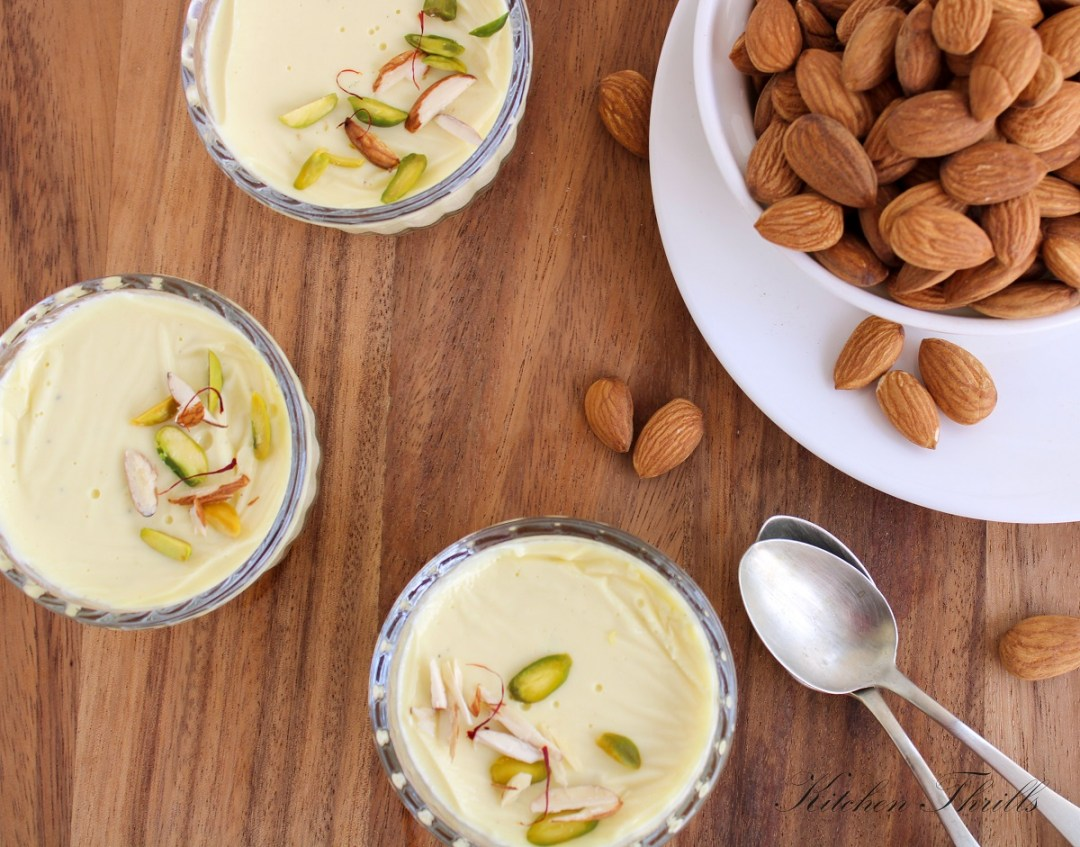 Almond Panna cotta made with just 6 ingredients and in only 15 minutes. #indianrecipes