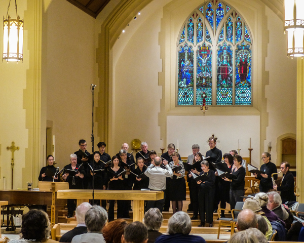 Jazz Vespers with Wesley Warren conductor, choir of St.Barnaba, and Billy Boulet on sax. Photo by Al Goyette.