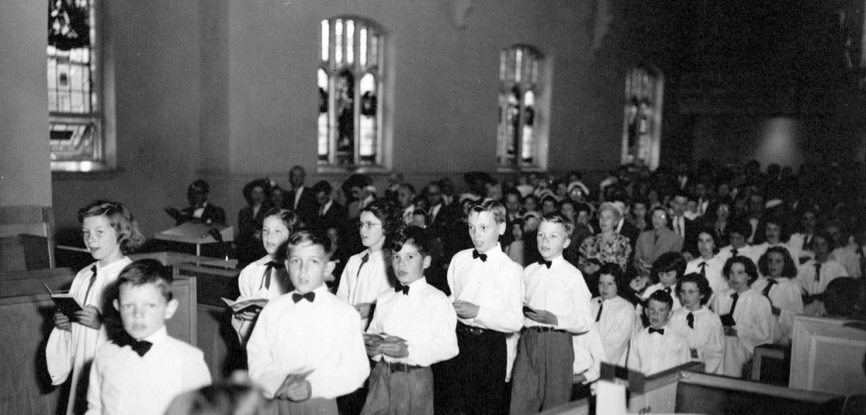 This archival photo is of a processional of the WUC Junior Choir in 1954. Now Bluesfest and Dovercourt will be bringing music back to this building in a new way. Photo courtesy of Kitchissippi United.