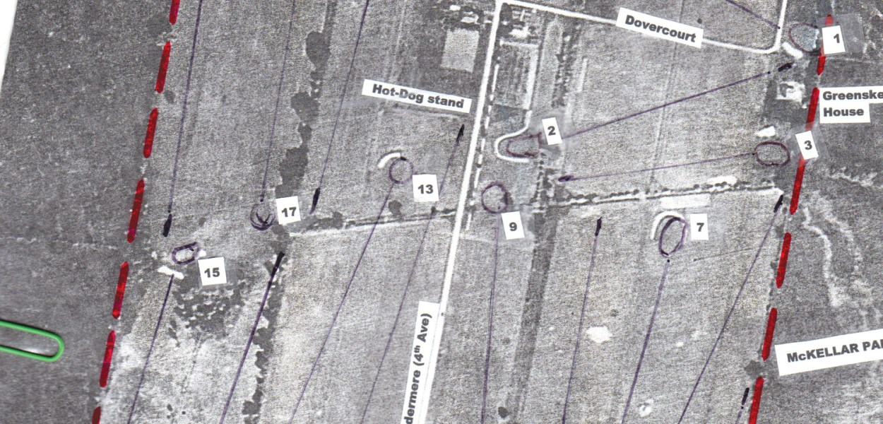 Click image to enlarge. This aerial photo of McKellar Park Golf Club shows the area it occupied in 1932. Carling Avenue, at the bottom of the photo, was the southern boundary. The eastern boundary of the club was a line mid-way between Fraser and Denbury Avenues. The western boundary is approximated by Redwood Avenue in the north, a piece of present-day Sherburne Avenue in the middle, and Manitou Drive in the southern part. The northern border of the golf club was quite irregular, falling between Dovercourt and Keenan Avenues. Windemere Avenue, previously known as 4th Avenue, divided the golf club into two parts, with the front nine holes to the east of Windemere and the back nine holes to the west.