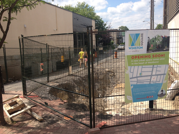 Construction issues have forced organizers to postpone plans to bring free entertainment to Westboro's Winston Square. Photo by Andrea Tomkins.