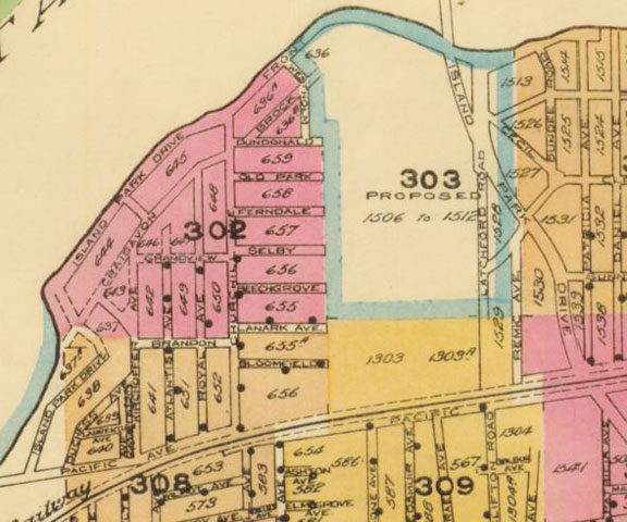 The answer to our mystery might be found in this fire insurance plan map of the area from 1945.