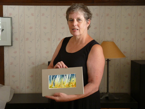 Barbara Zuchowicz with one of her many works inspired by nature. Photo by Judith van Berkom.