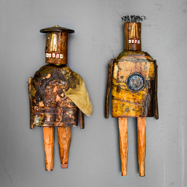 Brennan's latest beings have been given centurion names and rusty armour. Photo provided by Clare Brennan.