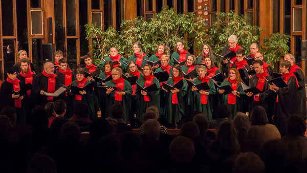 The Stairwell Carollers is a 30-member a cappella Ottawa choir, who sing sacred and secular renaissance music, as well as traditional and new Christmas carols. The choir includes Kitchissippi residents Nikki Faris-Manning (front row, 5th from the right) and Andrew Jones (back row, 2nd from the left). Photo by Al Goyette.