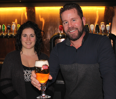 Jason Curry and Kelsey Crispin at the newest Barley Mow location on Richmond Road. Photo by Paula Roy
