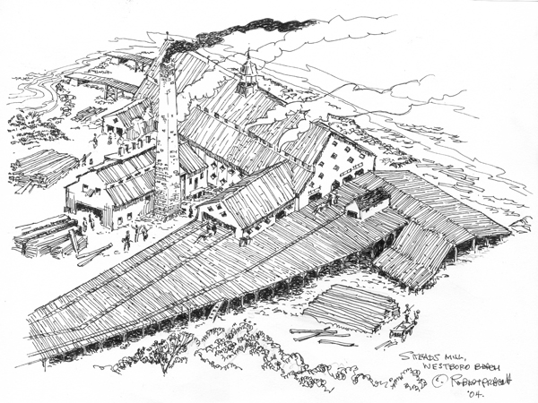 This illustration by Bob Prescott of LAC Image depicts James Skead's second sawmill at Westboro Beach.