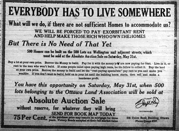 No beating around the bush here! The message to potential buyers was clear in this ad, published in the Ottawa Journal on May 26, 1919.