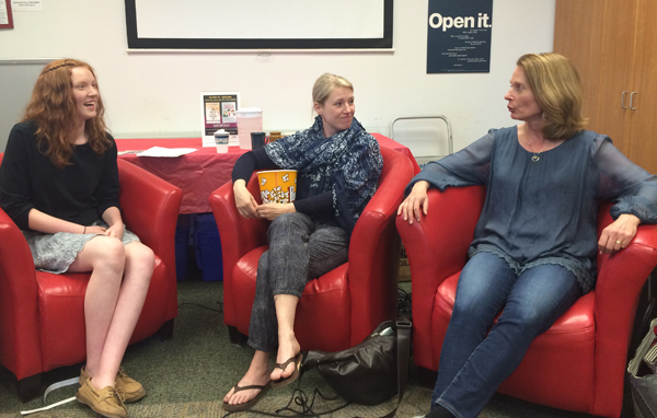 Teen moderator Jesse Hawke with authors Susan Juby and Susin Nielson.