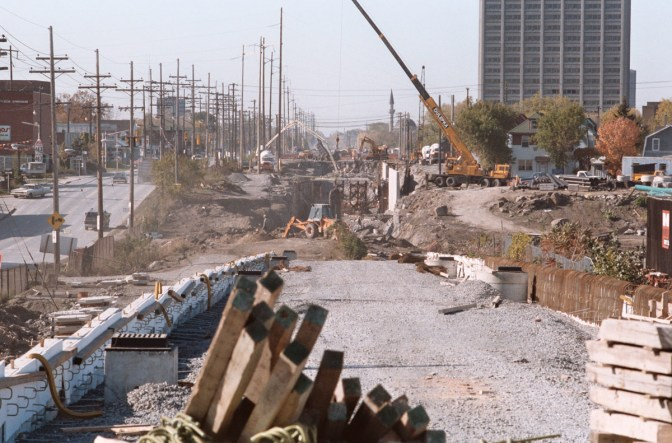 Construction chaos in 1983. Photo courtesy of Dave Allston