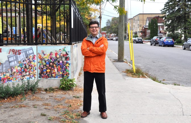 Wallace Beaton, the School Program Coordinator for Active & Safe Routes, pictured at Connaught PS. Connaught implemented a Walking School Bus this year and they have already reached the maximum enrolment of 20 students. You can learn more about the Walking School Bus program, including the route at Connaught here: http://www.ottawaschoolbus.ca/wsb . Photo by Andrea Tomkins.