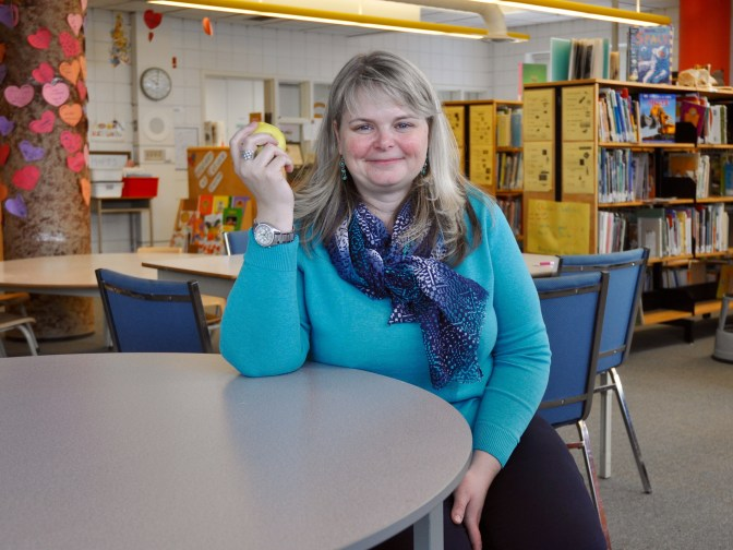 """Churchill P.S. principal Megan Egerton says an apple a day is a """"win-win for educators."""" Photo by Andrea Tomkins"""