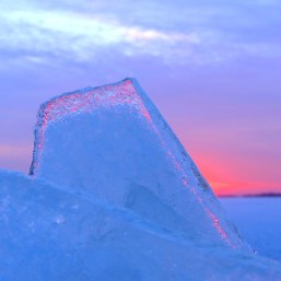 January 7th, 2016 Pink sunset through the ice shards at Westboro Beach
