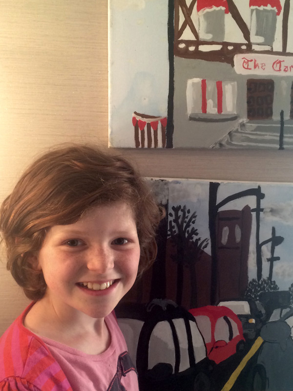 "Artemis Riedmueller, 11, submitted two pieces of art for the children's art component of the art sale. She was delighted to have sold both pieces. This marked the first time she's sold her artwork. ""This art show is great for kids,"" says Artemis. ""I'm looking forward to going to a lot of the events, but especially the closing party in Somerset Square."" Artemis hopes to do some face painting at the closing party. ""I love my neighbourhood, it's so interesting for me to live in and find things to paint."""