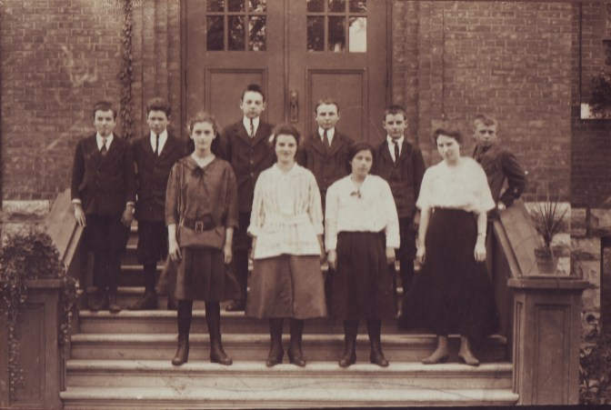 The Nepean HS building may be celebrating its 100th anniversary in 2023 but the school itself actually turned 100 years old this month. This class photo from 1916 is of the first continuation class and was taken on the front steps of the old Churchill Public School. Left to right, top row: Harold Leech, Ernest Halpenny, Carl Hawn, Douglas Young, Willie Pell and Willie Moore. Bottom row: Catherine Richards, Ethel Pell, Muriel Rich and Miss King (teacher).