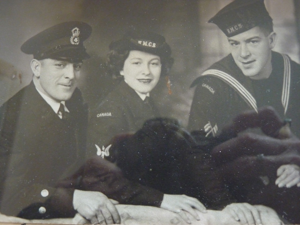 Elsa Lessard with brothers, Frank, on the left and younger brother, Ossie, on the right.