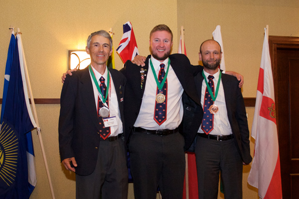 Westboro's Ivo Balinov, who is pictured here with fellow medalists Sorin Comsa (left, silver medalist) and Colin Huff (centre, gold medalist), is a member of the one of the two Canadian teams that participated in the 2016 Commonwealth Fly Fishing Championships at Mt. Tremblant in September. 14 teams representing 10 countries took part in this competition. Not only was this the first time the event was held in Canada since its origins in 1988, but this was also the first time a Canadian team won the gold. It's also the first team medal that Canada has ever won at any major international fly fishing competition.