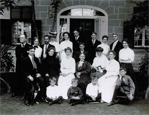 This family photo of the Cole & Rochester clan was taken during a wedding which took place at Maplelawn in 1907.