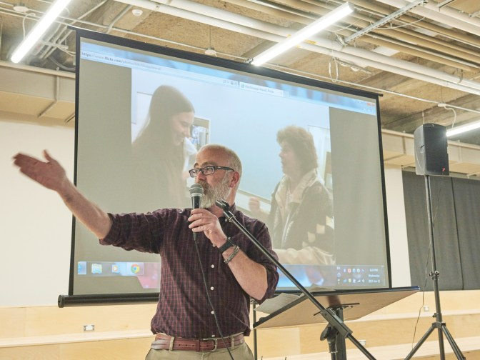 Kitchissippi Councillor Jeff Leiper hosted a Ward Forum at the Innovation Centre on January 11. Photo by Ellen Bond