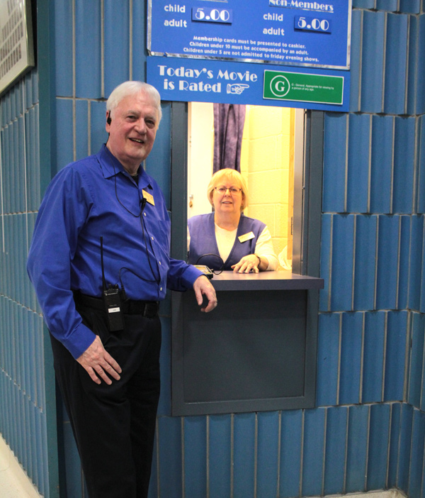 Ottawa Family Cinema volunteers, Jim McNeill and Donita Alexander at the OFC box office.
