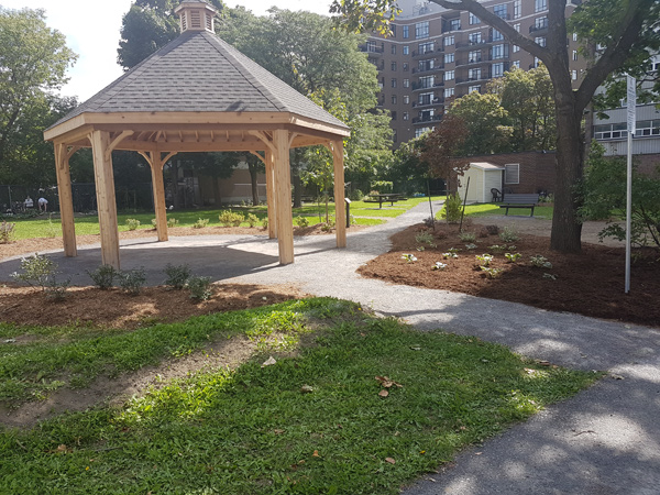 The gazebo at Golden Manor was completed last summer. Next up on the list: proper seating for residents and neighbours. Photo courtesy of Ottawa Community Housing