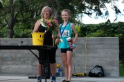 Race organizer, Lisa Georges, with first place female children's runner.