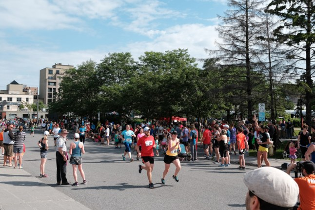 The crowd around Parkdale Park was thick with support for the runners.