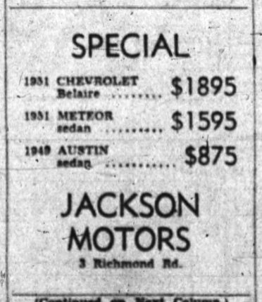 First advertisement for the car dealership (Jackson Motors) in 1953