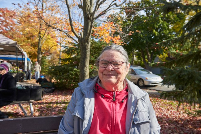 """Maxine Hamilton: """"I've been coming to the market since it first opened. All the good food and the nice weather keep me coming back. There are some speciality items that I go and look for all the time, such as gluten free bread and muffins, and local organic vegetables."""""""