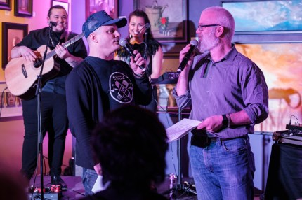 Musician Jim Bryson and Kitchissippi Councilor Jeff Leiper made for a crowd- pleasing pair of MCs. Photo by Ted Simpson