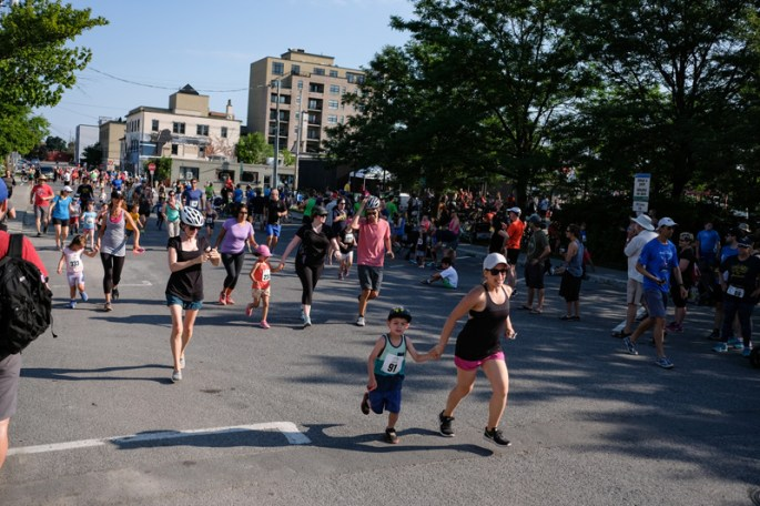 Mom there to help push through the finish line