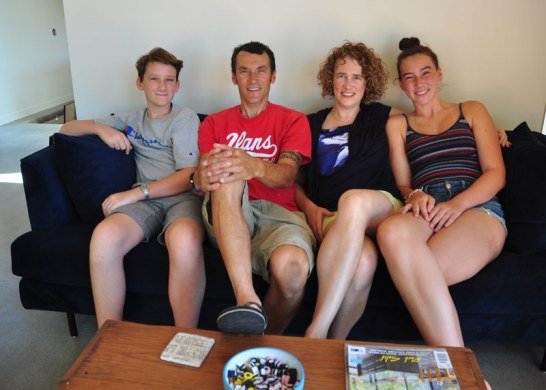 Finn (13), Mike Leach, Kate Billingsley, and Ngaire (16), at their new home at 70 Smirle Ave.