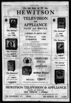 Full page ad in The Ottawa Journal, May 22, 1953