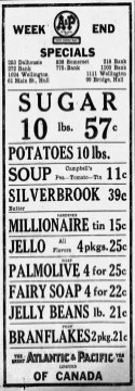 Ad from the Ottawa Citizen, August 1928